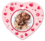 Dogue De Bordeaux Porcelain Heart Ornament - Paws