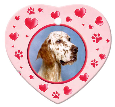 English Setter Porcelain Heart Ornament - Paws
