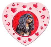 English Toy Spaniel Porcelain Heart Ornament - Paws