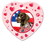 German Shorthair Pointer Porcelain Heart Ornament - Paws