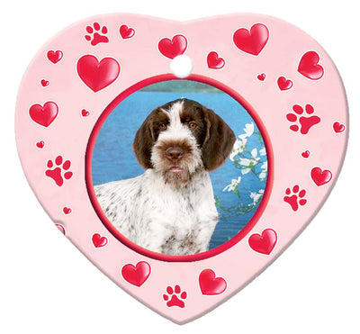 German Wirehair Pointer Porcelain Heart Ornament - Paws
