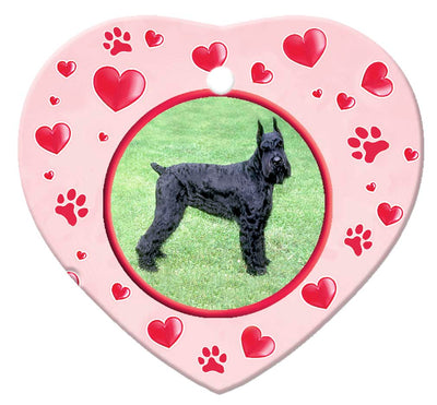 Giant Schnauzer Porcelain Heart Ornament - Paws
