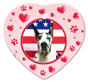 Great Dane Porcelain Heart Ornament - Paws