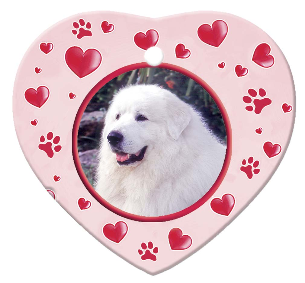 Great Pyrenees Porcelain Heart Ornament - Paws