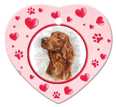 Irish Setter Porcelain Heart Ornament - Paws