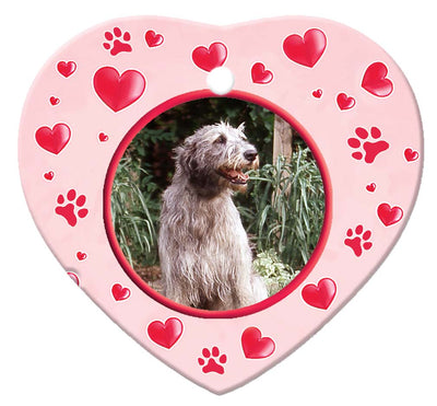 Irish Wolfhound Porcelain Heart Ornament - Paws
