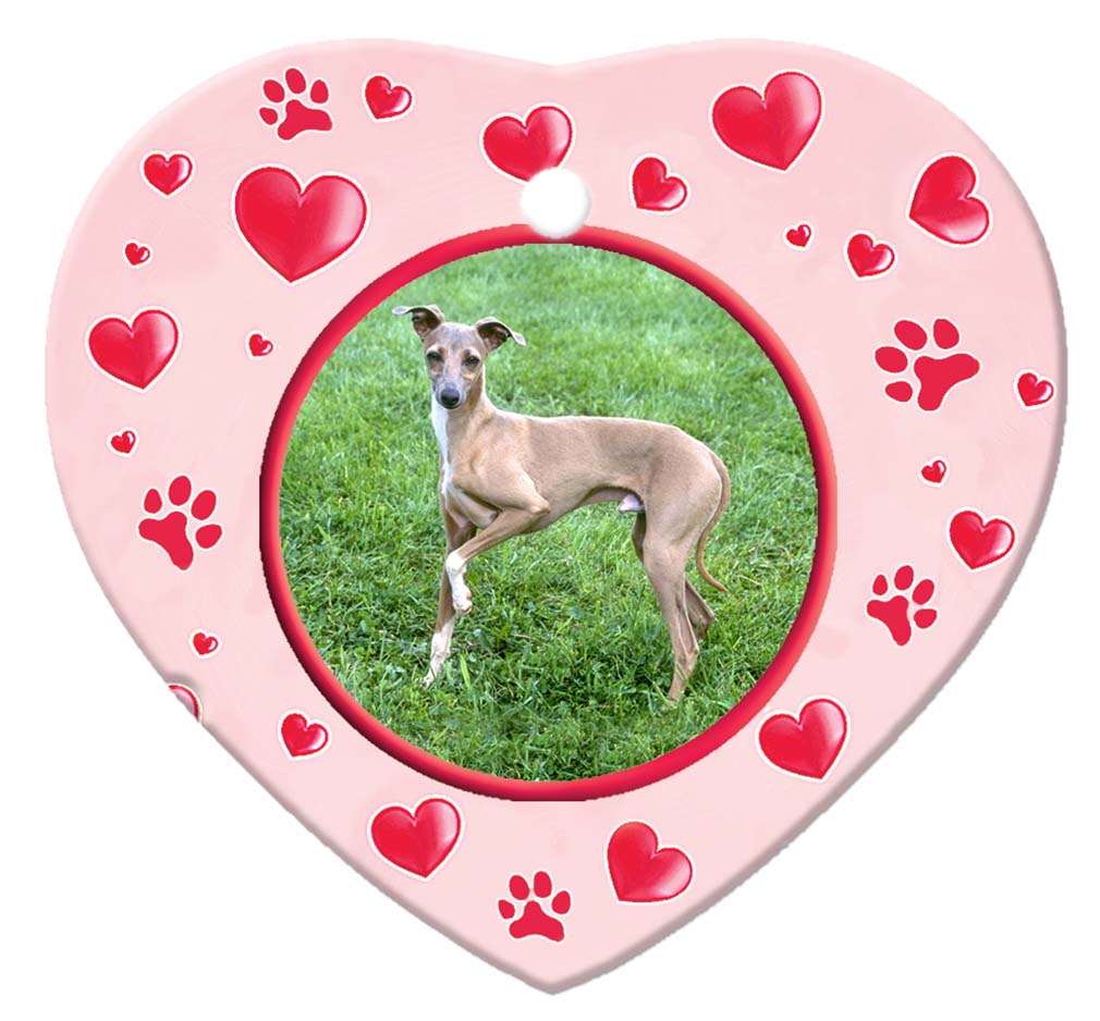 Italian Greyhound Porcelain Heart Ornament - Paws