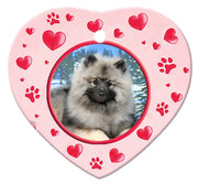 Keeshond Porcelain Heart Ornament - Paws