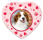 Kooikerhondje Porcelain Heart Ornament - Paws