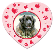 Leonberger Porcelain Heart Ornament - Paws