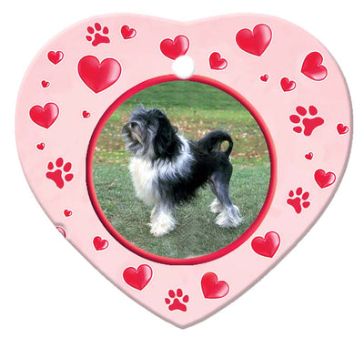 Lowchen Porcelain Heart Ornament - Paws