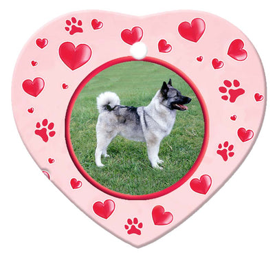 Norwegian Elkhound Porcelain Heart Ornament - Paws