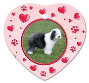Old English Sheepdog Porcelain Heart Ornament - Paws