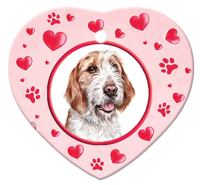 Otterhound Porcelain Heart Ornament - Paws