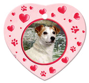 Jack Russell Porcelain Heart Ornament - Paws