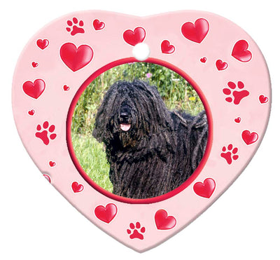 Puli Porcelain Heart Ornament - Paws