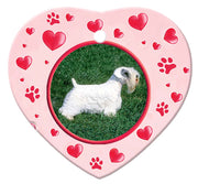 Sealyham Terrier Porcelain Heart Ornament - Paws