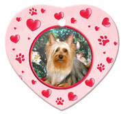 Silky Terrier Porcelain Heart Ornament - Paws
