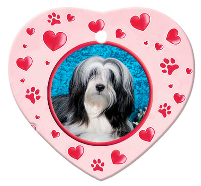Tibetan Terrier Porcelain Heart Ornament - Paws