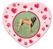 Tosa Inu Porcelain Heart Ornament - Paws