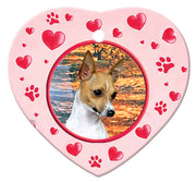 Toy Fox Terrier Porcelain Heart Ornament - Paws