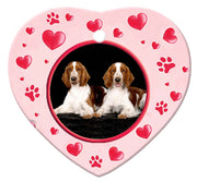 Welsh Springer Spaniel Porcelain Heart Ornament - Paws