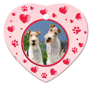 Wire Fox Terrier Porcelain Heart Ornament - Paws