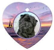 Affenpinscher Porcelain Heart Ornament - Sunset