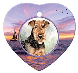 Airedale Terrier Porcelain Heart Ornament - Sunset