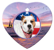 American Bulldog Porcelain Heart Ornament - Sunset