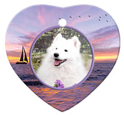 American Eskimo Porcelain Heart Ornament - Sunset