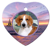 American Foxhound Porcelain Heart Ornament - Sunset