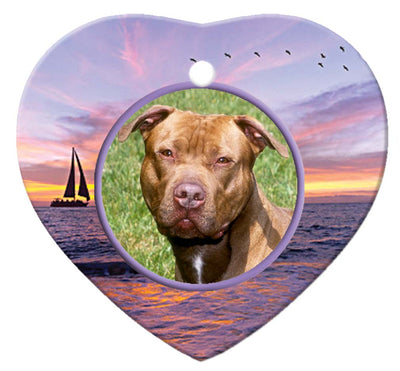 American Pitbull Porcelain Heart Ornament - Sunset