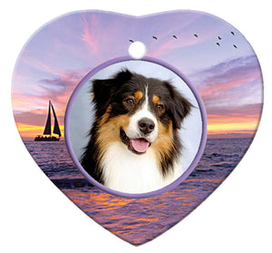 Australian Shepherd Porcelain Heart Ornament - Sunset