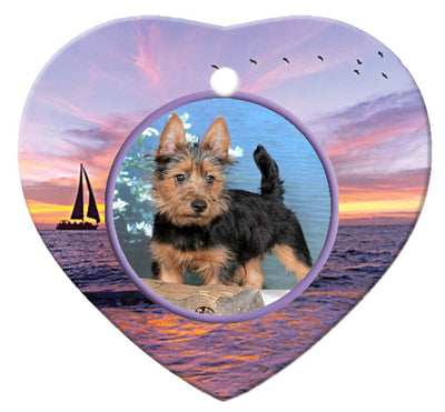Australian Terrier Porcelain Heart Ornament - Sunset