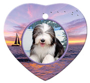 Bearded Collie Porcelain Heart Ornament - Sunset