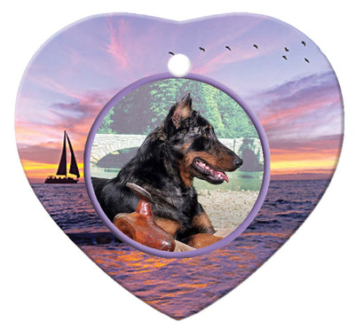 Beauceron Porcelain Heart Ornament - Sunset