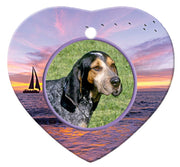 Blue Tick Coonhound Porcelain Heart Ornament - Sunset