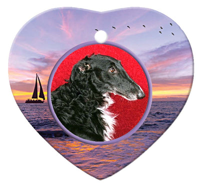 Borzoi Porcelain Heart Ornament - Sunset