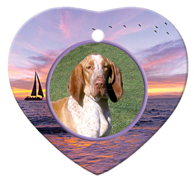 Bracco Italiano Porcelain Heart Ornament - Sunset