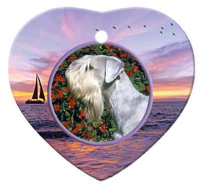 Cesky Terrier Porcelain Heart Ornament - Sunset