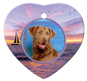 Chesapeake Bay Retriever Porcelain Heart Ornament - Sunset