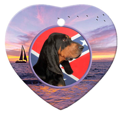 Black & Tan Coonhound Porcelain Heart Ornament - Sunset