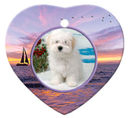 Coton du Tulear Porcelain Heart Ornament - Sunset