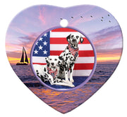Dalmatian Porcelain Heart Ornament - Sunset