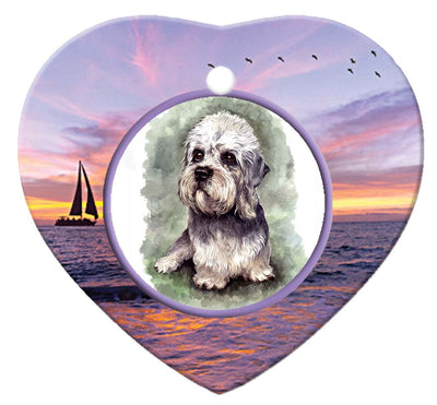 Dandie Dinmont Porcelain Heart Ornament - Sunset