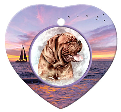 Dogue De Bordeaux Porcelain Heart Ornament - Sunset