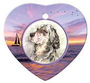 English Setter Porcelain Heart Ornament - Sunset