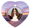 English Springer Spaniel Porcelain Heart Ornament - Sunset