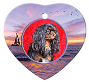 English Toy Spaniel Porcelain Heart Ornament - Sunset